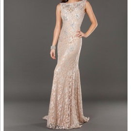 Jovani Nude Size 4 Backless Lace Mermaid Dress on Queenly