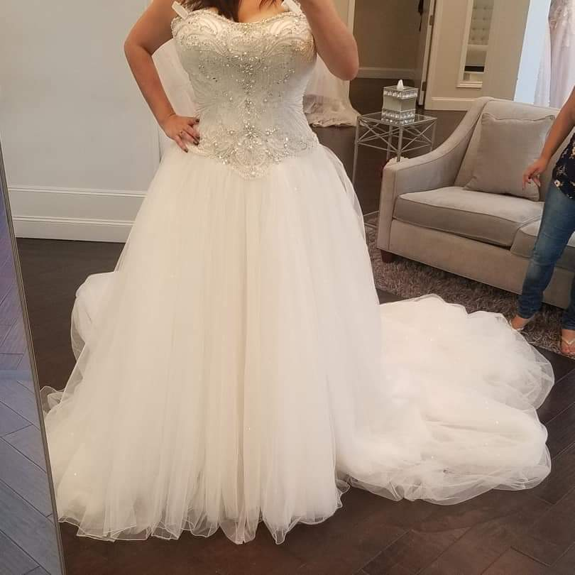 Justin Alexander  White Size 18 Sweetheart Plus Size Train Dress on Queenly