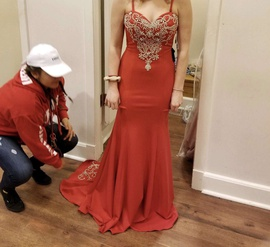 Queenly size 8 Camille La Vie Red Mermaid evening gown/formal dress