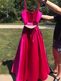 Style 50295 Sherri Hill Hot Pink Size 0 Two Piece Ball gown on Queenly
