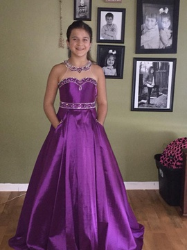 Queenly size 2 Pop! Purple Train evening gown/formal dress
