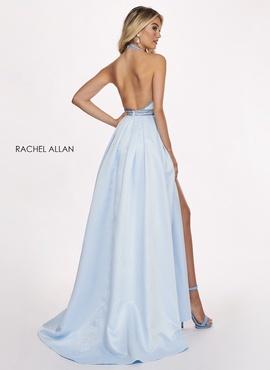 Rachel Allan Blue Size 8 Backless Tall Height Train Dress on Queenly