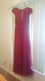 Queenly size 6 JJ's House Red A-line evening gown/formal dress
