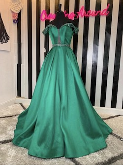 Ashley Lauren Green Size 4 Sequin Custom Ball gown on Queenly