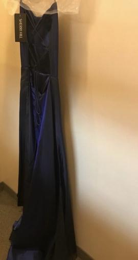 Sherri Hill Blue Size 8 Prom Side slit Dress on Queenly