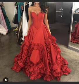 Sherri Hill Red Size 2 Ruffles Pageant Sweetheart Ball gown on Queenly