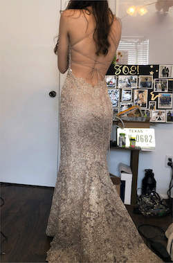 Queenly size 00 Sherri Hill Gold Mermaid evening gown/formal dress