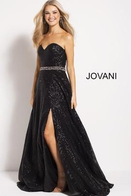 Jovani Black Size 6 Side Slit Jewelled Sweetheart A-line Dress on Queenly