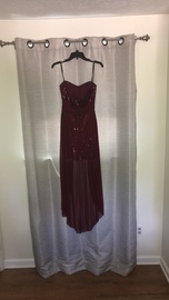 Windsor Red Size 8 Maroon Strapless Sequin Straight Dress on Queenly