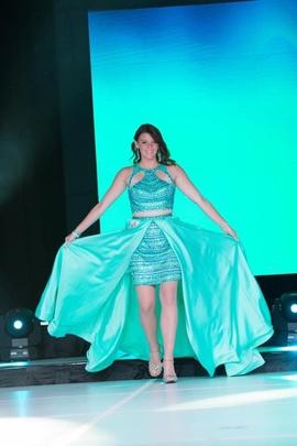 Queenly size 6 Rachel Allan Blue Train evening gown/formal dress