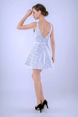 Style 237 Nina Canacci White Size 8 Lace Tall Height Homecoming Cocktail Dress on Queenly