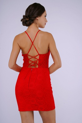 Style 250 Nina Canacci Red Size 4 Corset Mini Lace Cocktail Dress on Queenly