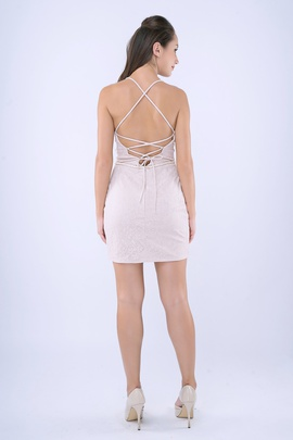 Style 262 Nina Canacci Nude Size 6 Corset Mini Plunge Cocktail Dress on Queenly