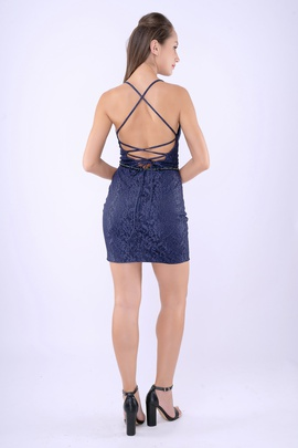 Style 262 Nina Canacci Blue Size 4 Mini Plunge Navy Cocktail Dress on Queenly