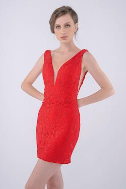 Style 266 Nina Canacci Red Size 2 Mini Plunge Cocktail Dress on Queenly