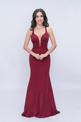 Style 1417 Nina Canacci Red Size 8 Backless Tall Height Straight Dress on Queenly
