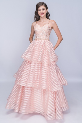 Style 1435 Nina Canacci Pink Size 6 Ruffles Tall Height A-line Dress on Queenly