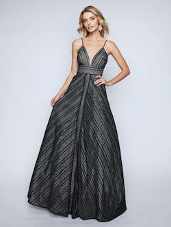 Style 1438 Nina Canacci Black Size 4 Plunge Tall Height A-line Dress on Queenly