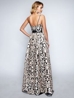 Style 1446 Nina Canacci Gold Size 4 Plunge Tall Height A-line Dress on Queenly