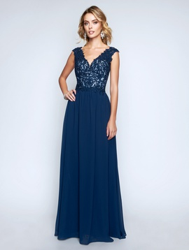 Style 1449 Nina Canacci Blue Size 4 Backless Tall Height Lace Straight Dress on Queenly