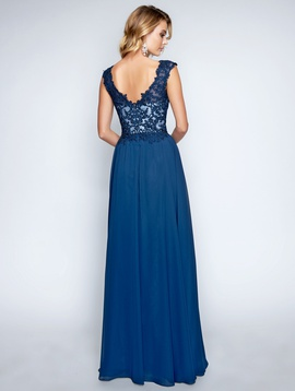 Style 1449 Nina Canacci Blue Size 10 Plunge Lace Straight Dress on Queenly