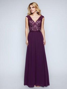 Style 1449 Nina Canacci Purple Size 12 Plunge Plus Size Lace Straight Dress on Queenly