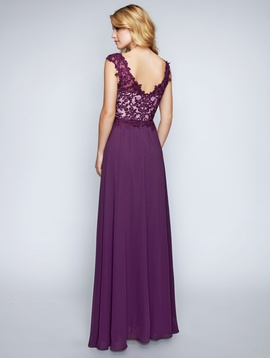 Style 1449 Nina Canacci Purple Size 14 Plunge Plus Size Lace Straight Dress on Queenly