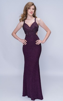 Queenly size 00 Nina Canacci Purple Straight evening gown/formal dress