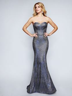 Queenly size 6 Nina Canacci Silver Mermaid evening gown/formal dress
