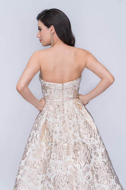 Nina Canacci Gold Size 2 Quinceanera Prom Strapless Print Ball gown on Queenly