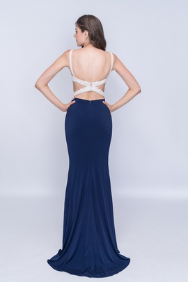 Style 2184 Nina Canacci Blue Size 6 Backless Tall Height Straight Dress on Queenly
