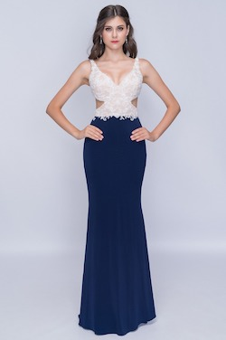 Style 2184 Nina Canacci Blue Size 8 Backless Tall Height Straight Dress on Queenly