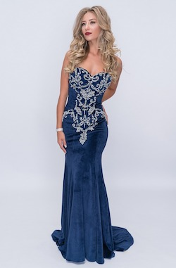 Queenly size 6 Nina Canacci Blue Mermaid evening gown/formal dress