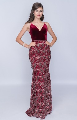 Style 2198 Nina Canacci Red Size 2 Fringe Backless Tall Height Straight Dress on Queenly