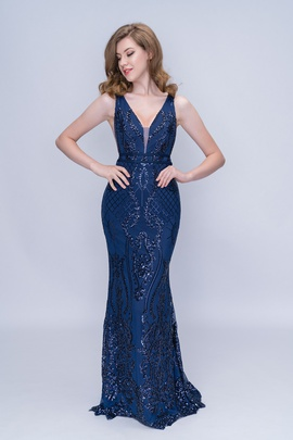 Queenly size 14 Nina Canacci Blue Mermaid evening gown/formal dress