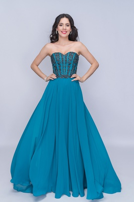 Queenly size 12 Nina Canacci Blue A-line evening gown/formal dress