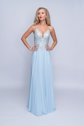 Queenly size 2 Nina Canacci Blue A-line evening gown/formal dress