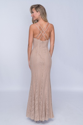Nina Canacci Nude Size 2 Backless Tall Height Straight Dress on Queenly