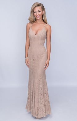 Nina Canacci Nude Size 14 Backless Tall Height Straight Dress on Queenly