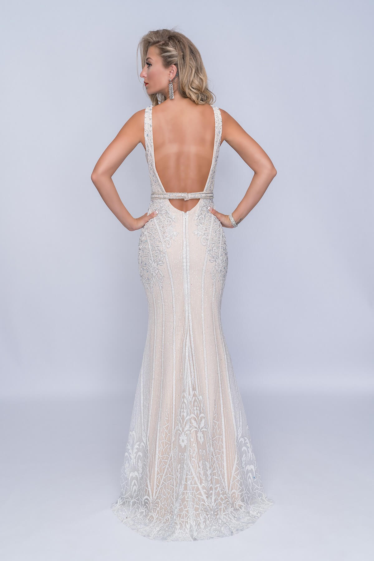 Nina Canacci White Size 8 Backless Tall Height Mermaid Dress on Queenly