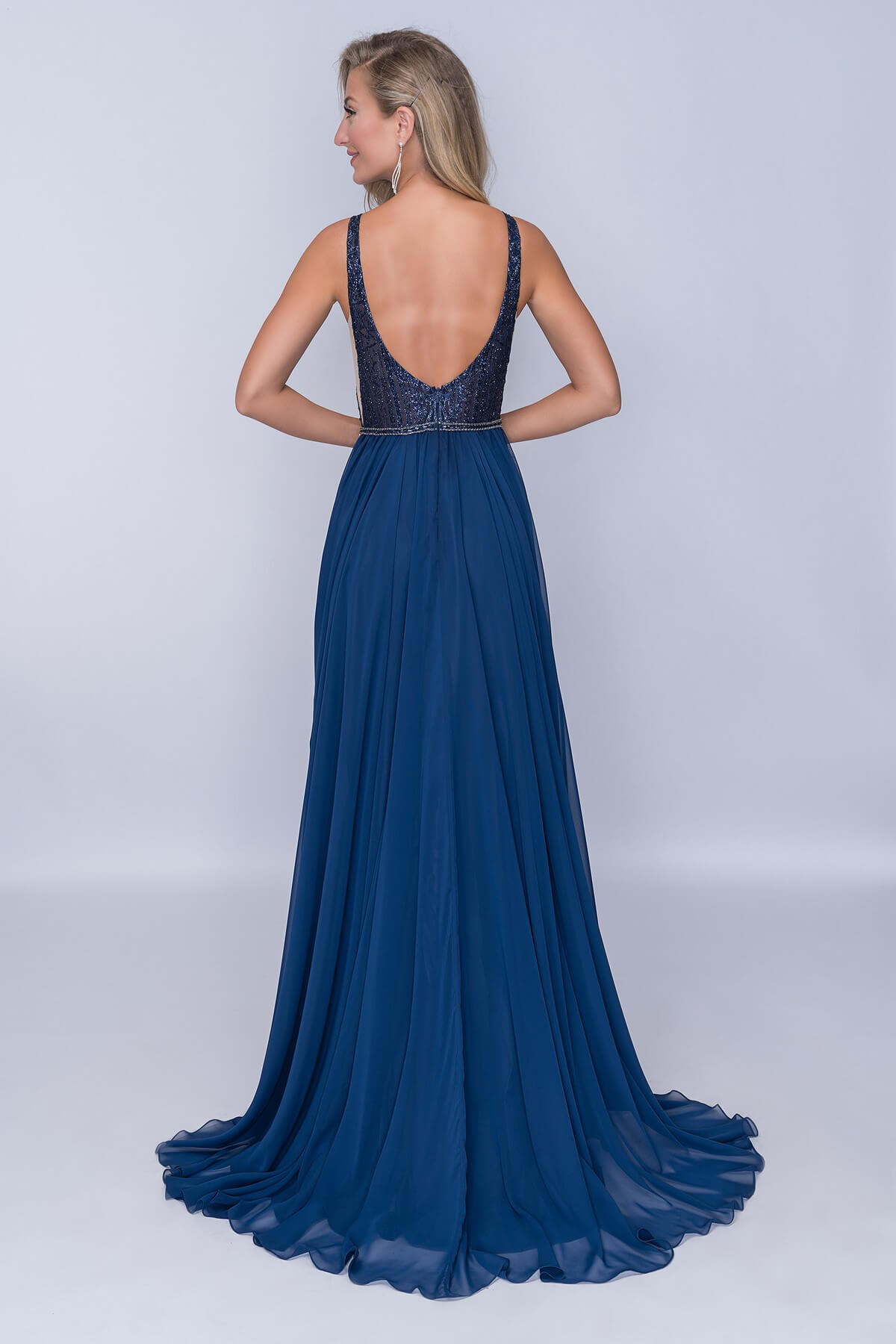 Nina Canacci Blue Size 4 Backless Tall Height Lace A-line Dress on Queenly