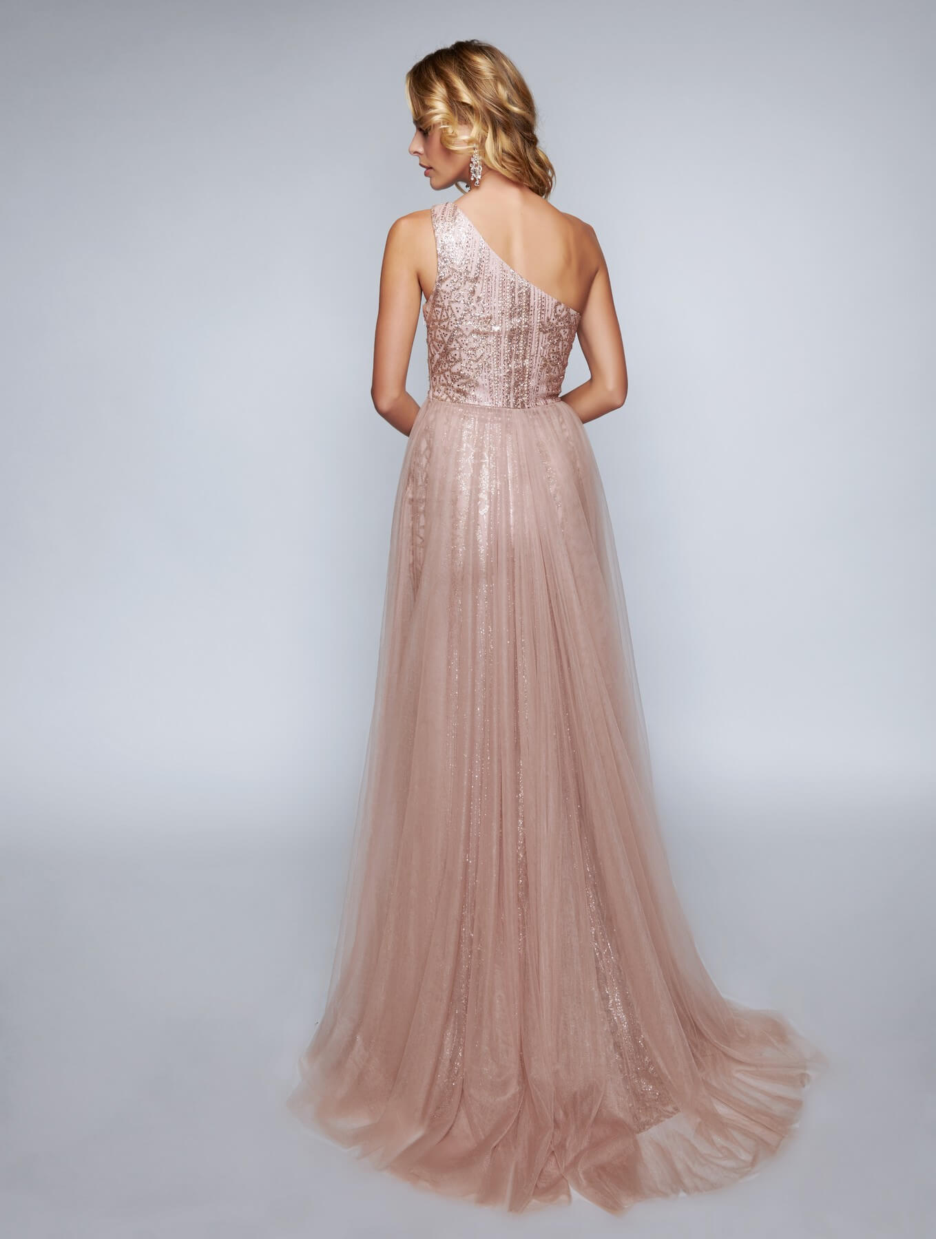 Nina Canacci Rose Gold Size 16 Pageant Prom One Shoulder Side slit Dress on Queenly