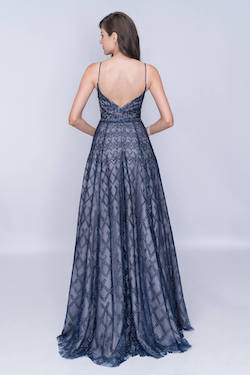 Nina Canacci Blue Size 8 Backless Tall Height A-line Dress on Queenly