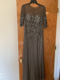 Queenly size 12  Silver Straight evening gown/formal dress
