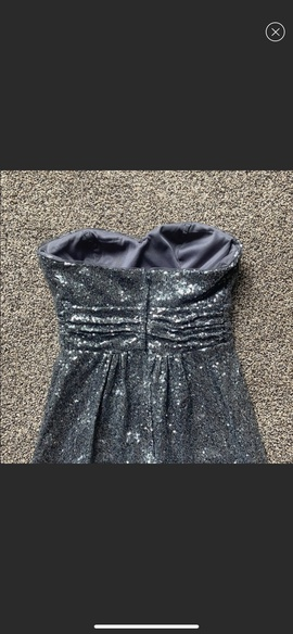 Christina Wu Silver Size 0 Jewelled Strapless Sequin Straight Dress on Queenly