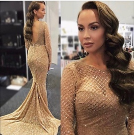Queenly size 0  Gold Mermaid evening gown/formal dress