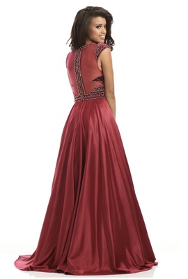 Johnathan Kayne Red Size 6 Velvet Sheer Ball gown on Queenly