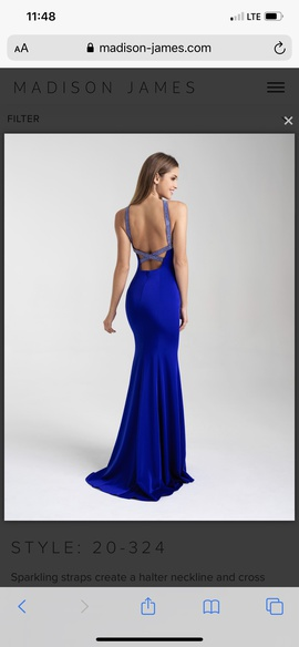 Madison James Blue Size 6 Halter Train Dress on Queenly