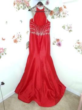 Rachel Allan Red Size 14 Halter Plus Size Mermaid Dress on Queenly