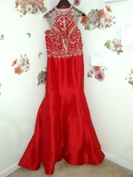 Queenly size 14 Rachel Allan Red Mermaid evening gown/formal dress